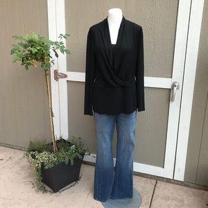 ECI black long sleeve blouse L NWOT